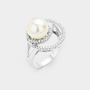 Crystal Rhinestone Pave Peal Accented Ring